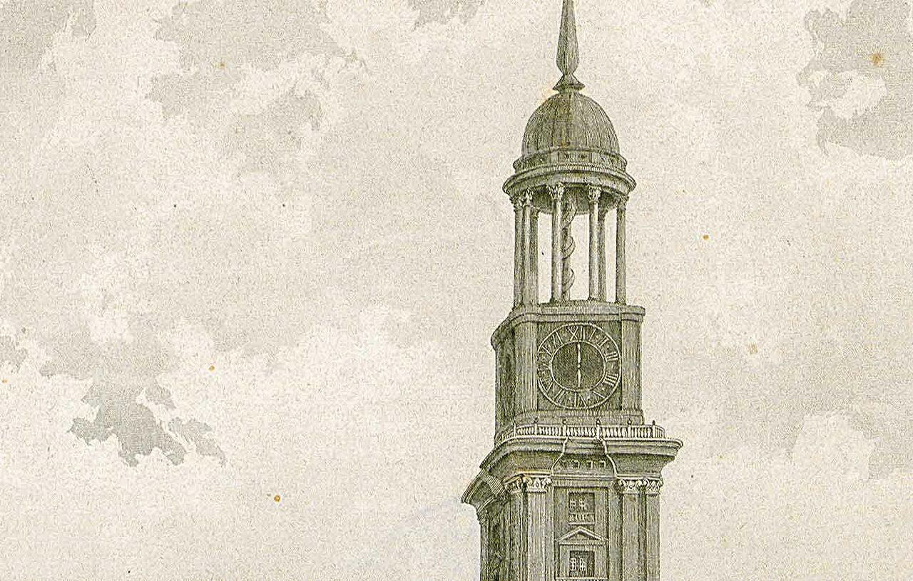 1786: New church tower with the signature copper roof.