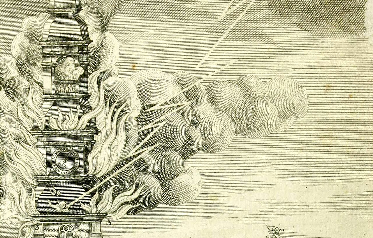 1750: St. Michael's church was struck by lightning and burnt down.